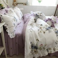 Hot Purple flower Printed bedding set Garden ruffle duvet co...