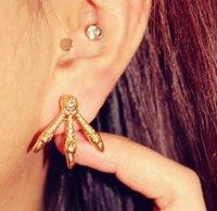 أزياء القوطية الشرير أقراط الذهب والفضة مطلي مخلب النسر الأذن مسمار مجوهرات
