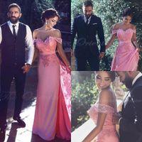 Waishidress Candy Pink Lace вечернее платье Arabic Off плеча Long-Line Вечерние платья Аппликация кружева платье Vestidos де ночь