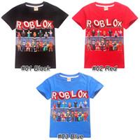 قمصان Roblox الاطفال المحملة 3 ألوان 6-14t أطفال بنين بنات كارتون مطبوعة قطن T مصمم الملابس قمصان تيز الاطفال JSS248