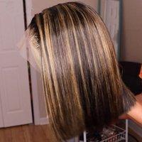 Ombre Highlight Wig Bob Brown Honey Blonde Blonde Colorato Dritto HD Intera Pizzo Parrucche anteriori umane Parrucche per capelli umani Straight Full 360 Parrucca frontale in pizzo Remy