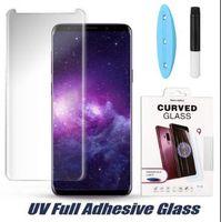 2020 3D Kavisli Tam Tutkal UV Sıvı Temperli Cam Samsung S20 Ultra S10 S9 Artı S10E Not 10 9 Tam Yapışkan Ekran Koruyucu UV Işık