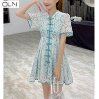 Vestidos Korean OLN Dress Summer French niche retro lace wom...