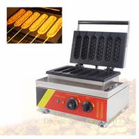 110 V 220 V Lolly Hotdog Waffle makinesi Ticari yapışmaz Çörek Hot Dog Waffle Makinesi Zamanlayıcı ile 1500 W 6 Kalıplar Ücretsiz Kargo