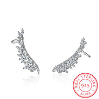 925 sterling silver Needle Zirconia Angel Wings Stud Earring...