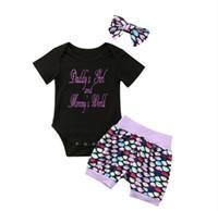 아기 소녀 스팽글 옷 복용 아기 rompers + 반바지 + 머리띠 세 조각 세트 2020 봄 여름 티셔츠 유아 머리 띠 판매 E21904