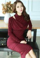 2021 Koreanische Version des Frühlings des neuesten Temperaments Hängenden Halsstapelkragen Slim Bag Hüftkleid