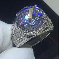 Виктория Вику Размер 8-12 ювелирных изделий Античная Мужская 18K Gold Filled Огромный 15CT топаз Имитация бриллиантовое обручальное обручальное кольцо