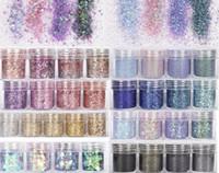(10 ml / pot) 3D Nail Art Paillettes mixte Paillettes Paillettes Poudre pour Nail Art Décoration Holographic Effet