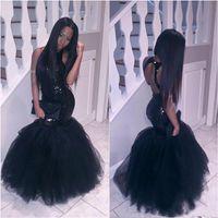 Menina preto Prom Dresses Top Sequins Coberto Mermaid Backless Dubai Fiesta Longo Partido vestidos de festa baratos Vestidos