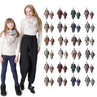 Eltern-Kind-Plaid Pashmina-Schal Mode Mutter Kinder Maxi-Tartan-Verpackungs-Schal im Freien Quaste Dreieck Schal Warme Decke LJJT1435
