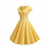 Verano vestido de las mujeres con cuello en V vestido de oscilación grande de la vendimia Robe Femme pin elegante retro encima del partido de oficina Midi vestidos más el tamaño