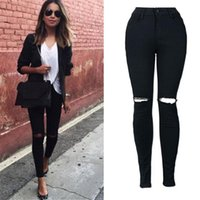 2019 New Sexy Black Pencil Pants Skinny Stretch Fitness Collants souples Jeans Trou Jeans Femme Denim