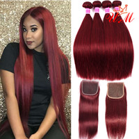 100% Human Hair Bundles With Closure Red Burgundy Brazilian ...