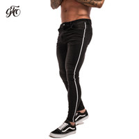 Gingtto Skinny Jeans Erkekler Sıkıntılı Kot Erkekler Için Bant Tasarım Şerit Moda Ayak Bileği Sıkı Hafif Pamuk Streç Kot zm22