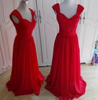 새로운 도착 2 어깨 레이스와 시폰 A 라인 롱트 댄스 미인 대회 신부 들러리 드레스