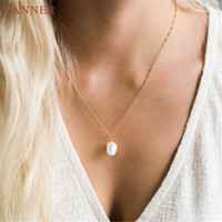 2020 Freshwater Pearl Pendant Necklace Women Elegant Gold Chains Collar Necklaces Fashion Jewelry collares collier femme
