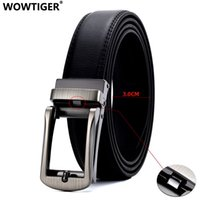 WOWTIGER Men 3cm width Luxury Designer black Genuine Leather...