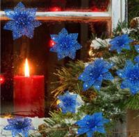 Fiori artificiali di nozze di Natale Glitter Stella di Natale Alberi di Natale 3.9Inches 10cm fiore artificiale DHL