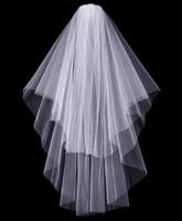 A buon mercato Exquisite breve velo da sposa a rete a doppio strato Velo da sposa corto con pettine punta delle dita Lunghezza Handmade Noble bianco avorio Copricapo Tulle