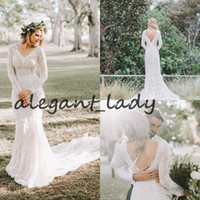 Stylish Rustic Mermaid Lace Bohemian Country Cheap Wedding Dresses Sexy Backless Inspired Plus Size Under 200 Bridal Gown Boho Beach Sleeve