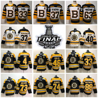 Stanley Cup Finals Patch Boston Bruins Preto Branco 33 Zdeno Chara 37 Patrice Bergeron Brad Marchand Jerseys David Pastrnak 73 Charlie McAvoy
