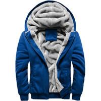 2019 New Fleece Hoodies Men Winter Warm Mens Hooded Jackets Solid Color Outwear Homme Sportswear Thick Wool Sweatshirt Plus Size