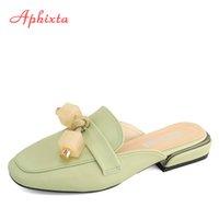 Aphixta Metal Square Heels Mulers Women Slippers Shoes Gemstone Fringe Square Heel Tassel Mujer Slides Plus Big Size43