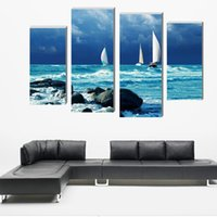 Print Painting Modular Poster Popular Canvas 4 Panels Boat B...