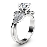 Gioielli Anello Fiore di cristallo di diamante Zirconia anelli di fidanzamento con fedi anello di moda per le donne regalo Will e Sandy 080.424