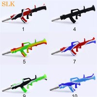 AK47 gun shape silicone nectar collector kit dab straw oil c...