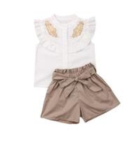 Çocuklar Kızlar Yaz Giyim Setleri Moda Çocuk Rahat Kıyafetler Yaprak Nakış Fırfır Kolsuz Gömlek Üstleri + Yay Kısa 2 adet Y2500 Suits