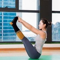 5 Paare Kalb Länge Fünf-Zehe-Yoga-Socken Damen-Baumwolle absorbieren Anti-Rutsch-Sportsocken Lady Pilates Training unter-Knie Sweat