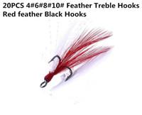 20PCS 4 # 6 # 8 # 10 # Крючки для верхушек с красными перьями Высокоуглеродистая сталь Высокопрочные рыболовные крючки Крючки для бионических крюков Высокое качество!
