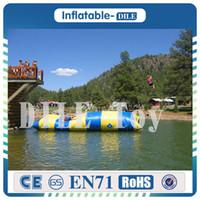 كبير 12x3 متر 0.9mmPVC نفخ المياه المنجنيق القفز القفز برج الغوص ، نفخ القفز وسادة للأطفال / الكبار