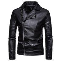 Outono Inverno Zipper Casual Leather Jacket manga comprida shirt de manga comprida Primavera de Homens Outono Top Blusa Drop Shipping