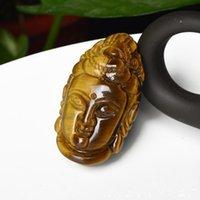 Желтый Тигр глаз Handcarved Гуаньиньте Голову Для Удачного Будда Подвеска Человека Амулет Подвески Свободных канатной
