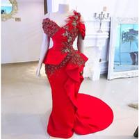 tamanho elegante vestido de noite Além disso, 2019 Mermaid Vestidos Prom penas festa de aniversário vestido longo vermelho Pageant Vesidos De Festa