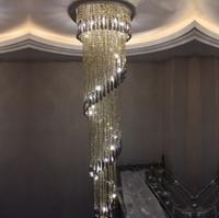 spirale design luxe lustre en cristal modernes longs appareils d'éclairage pour les projets d'hôtel kronleuchter kristall led lampe LLFA
