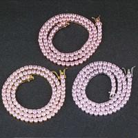 16 18 pollici a catena di 4mm 4mm Collana con catena uomo Designer di lusso Hip Hop Mens Pink Bling Diamante Gold Gold Silver Tennis Chians Collane Jewerlry