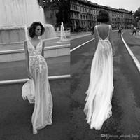 Liz Martinez Vintage Lace Floral Strand Boho Brautkleider V-Ausschnitt Backless Günstige Free People Bohemian Street Brautkleid