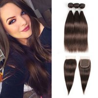 Color 2 Darkest Brown Hair Bundles with Lace Closure Brazili...