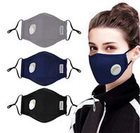 Nosotros stock, diseño Máscaras reutilizables unisex algodón de la cara con el aliento de la válvula PM 2.5 Máscara facial anti-polvo Tela Máscara Máscara lavable Con Filtro