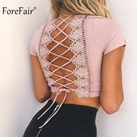Forefair Sexy Cruz Lace Up T Shirt Mujeres 2018 Verano Otoño de Manga Corta Camisa Sin Costura Crop Pink Ladies Top Y190501301