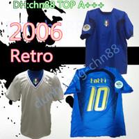 2006 Itália Gattuso Retro Jersey Jersey Cannavaro Francesco Totti Del Piero Nesta Inzaghi Pirlo Materazzi Toni 06 Italia Camisas de futebol