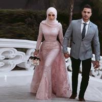 Con encanto sirena musulmán vestidos de noche hijab encaje apliques elegante ocasiones especiales vestidos manga larga manga árabe medio oriente vestidos de fiesta