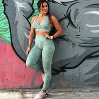 2019 Женщины Sexy 2 шт. Yoga Набор Бесшовные Камуфляж Цвет Тренировки Майка Высокая Поддержка Фитнес бюстгальтер Тощие Длинные Леггинсы