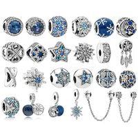 925 فضة الخرز صالح الأصلي باندورا سحر سوار البحر الأزرق زركون نجوم ندفة الثلج الفضة 925 الأزياء والمجوهرات