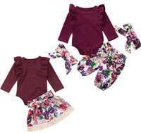 Ropa Niños Establece la colmena del bebé del mameluco de las tapas + pantalones de flores o 3pcs borla de la flor de la falda del arco de la venda floral + / set Trajes Niños Ropa M760