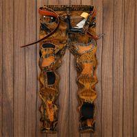 حار رجل ريترو المرقعة سنو صالح سليم جينز مصمم أزياء مستقيم الساق جينز الدهون الرجل السراويل حجم كبير 29-42 JB170